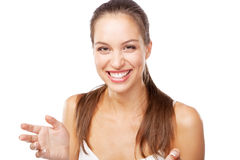 Beautiful young woman in white clothing Royalty Free Stock Photography