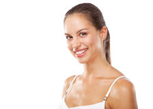 Beautiful young woman in white clothing Stock Image