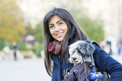 Beautiful young woman with white dog in a carry bag. Young woman with white dog in carry bag in the park Stock Photo