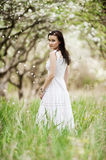 Beautiful young woman in white dress Royalty Free Stock Images