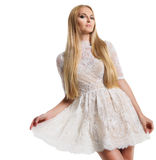 Beautiful young woman in white dress Royalty Free Stock Photos
