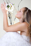 Portrait of happy bride with a bouquet Royalty Free Stock Image