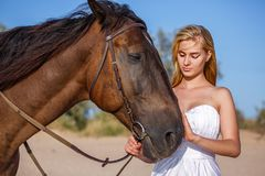 Beautiful young woman in white dress by the sea with horse stock photography