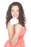 Beautiful young woman with white flower Royalty Free Stock Images