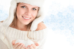 Beautiful young woman in white hat Stock Image