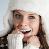 Beautiful young woman in white hat Royalty Free Stock Photo