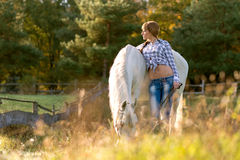 Beautiful young woman with a white horse in the country Royalty Free Stock Photos