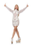 Beautiful young woman on white Stock Photo