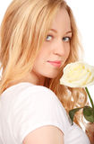 Beautiful Young Woman With White Rose Royalty Free Stock Image