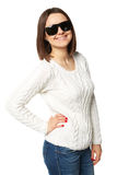 Beautiful  young woman in white sweater with sunglasses. Isolated on white Royalty Free Stock Photo