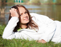 Beautiful young woman in a white sweatshirt Royalty Free Stock Photos