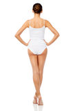 Beautiful young woman in white underwear royalty free stock photo
