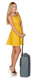 Beautiful young woman who goes for trip. Royalty Free Stock Image
