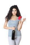 Beautiful young woman with wine Royalty Free Stock Photography