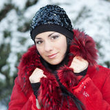 Beautiful young woman at winter Royalty Free Stock Photos