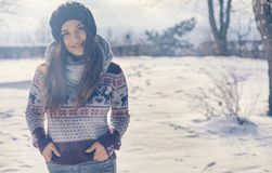 Beautiful young woman in winter Royalty Free Stock Images