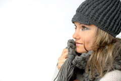 Beautiful young woman with winter clothes Stock Photography