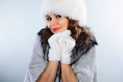 Beautiful young woman in winter clothes Stock Images