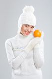 Beautiful young woman in winter clothes Stock Photos