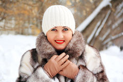 Beautiful young woman in winter coat. Portrait of beautiful young woman in winter coat Stock Images