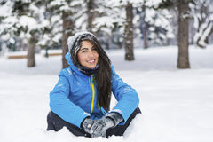 Beautiful young woman in  the winter mountain Stock Photos