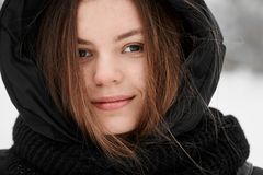 Beautiful young woman winter outdoor portrait pretty skin care royalty free stock photos