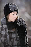 Beautiful young woman in winter outerwear Stock Photography