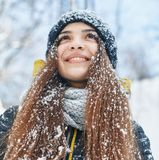 A Beautiful young woman in winter outside royalty free stock photography