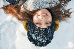 A Beautiful young woman in winter outside stock images