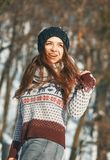 A Beautiful young woman in winter outside stock photography