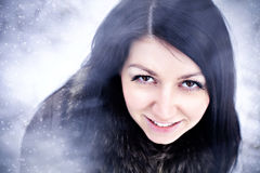Beautiful young woman winter portrait Royalty Free Stock Images