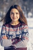 Beautiful young woman in winter Stock Photo