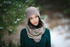 Beautiful young woman in wintertime outdoor Royalty Free Stock Photo