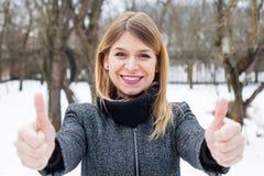 Beautiful young woman wintertime stock image