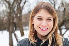 Beautiful young woman wintertime stock photo