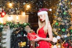 Free Beautiful Young Woman Wish You Happy New Year. Beauty Christmas Fashion Model Girl Holding Christmas Gift. Christmas Royalty Free Stock Photo - 167011545