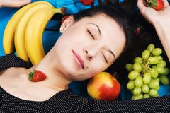 Beautiful Young Woman With A Bunch Of Fruits Stock Photos