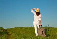 Free Beautiful Young Woman With A Suitcase Stock Images - 25444314