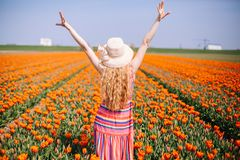 Beautiful Young Woman With Long Red Hair Wearing A Striped Dress And Straw Hat Standing By The Back On Colorful Tulip Field Stock Photo
