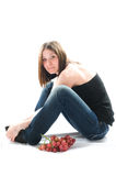 Beautiful Young Woman With Red Grape Royalty Free Stock Photo