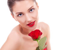 Free Beautiful Young Woman With Red Rose Stock Photos - 26587143