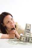 Beautiful Young Woman With The Money Royalty Free Stock Images
