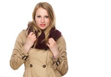 Beautiful Young Woman With Winter Coat And Scarf Royalty Free Stock Images