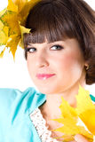 Beautiful Young Woman With Yellow Leaves Stock Images