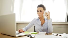 Beautiful young woman working in home office Royalty Free Stock Photography