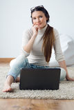 Beautiful Young Woman Working On Her Laptop At Home. Stock Photography