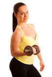 Beautiful young woman working out with dumbels in fitness gym. Isolated Royalty Free Stock Photo