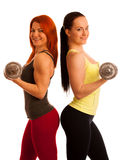 Beautiful young woman working out with dumbels in fitness gym. Beautiful young women working out with dumbels in a fitness gym Royalty Free Stock Photography