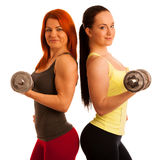 Beautiful young woman working out with dumbels in fitness gym. Beautiful young women working out with dumbels in fitness Royalty Free Stock Photo