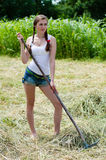 Beautiful young woman working with rake on dry hay on summer day Stock Photos
